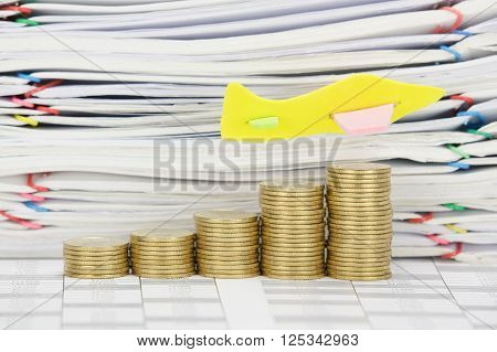 Airplane Fly On Step Pile Of Gold Coins