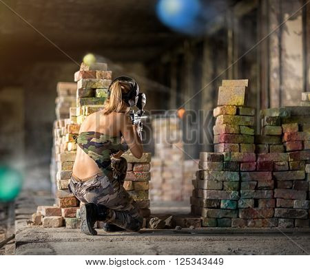 Paintball  game action in ruins scenario