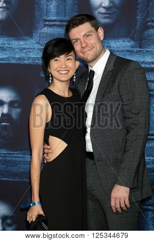LOS ANGELES - APR 10:  Jenny Del Rosario, Patrick Fugit at the Game of Thrones Season 6 Premiere Screening at the TCL Chinese Theater IMAX on April 10, 2016 in Los Angeles, CA