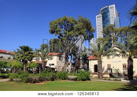 TEL AVIV, ISRAEL - APRIL 7, 2016 : View of modern open air commercial center Sarona over skyscrapers of Azrieli Center in Tel Aviv, Israel. Recently open Sarona Market became the most popular place in Tel Aviv.