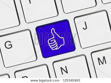 Computer keyboard with thumb gesturing hand key