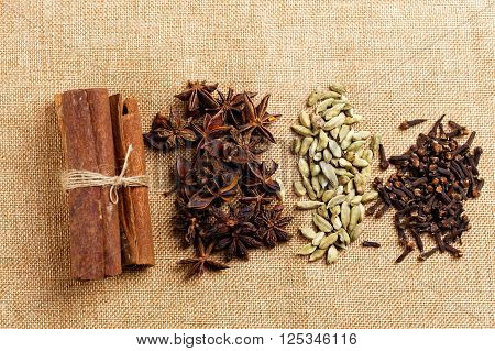 Spices set for cooking Star Anise  Cardamom Clove and  Cinnamon.