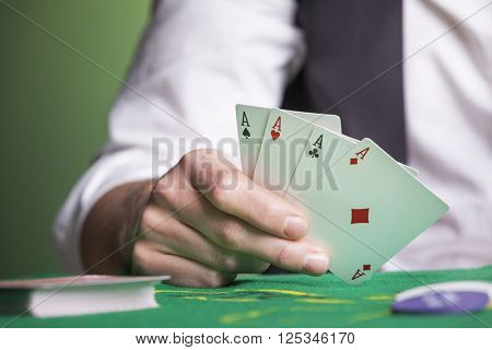 Poker aces on the table