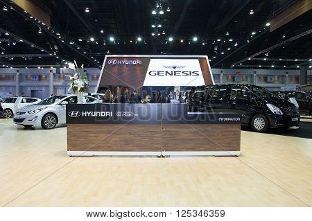 BANGKOK - MARCH 22: Showroom of Hyundai car at The 37 th Thailand Bangkok International Motor Show on March 22 2016 in Bangkok Thailand.