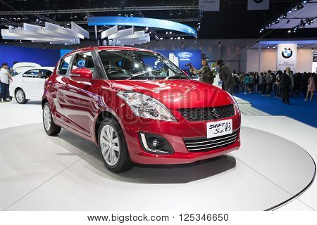 BANGKOK - MARCH 22: Suzuki Swift Sai car on display at The 37 th Thailand Bangkok International Motor Show on March 22 2016 in Bangkok Thailand.