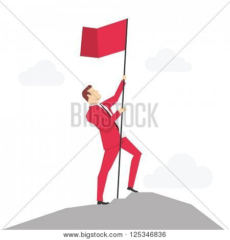 Red suit businessman on the peak with flag. Vector concept illustration.