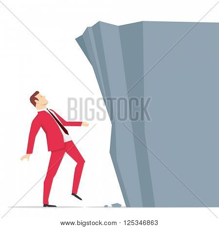 Red suit businessman looking at big rock barrier. Vector illustration.
