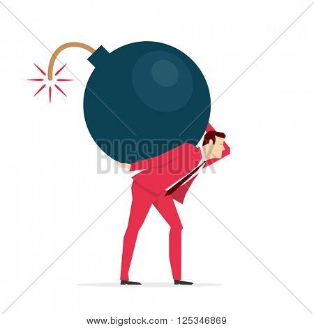 Red suit businessman carrying a big bomb.. Vector concept illustration.