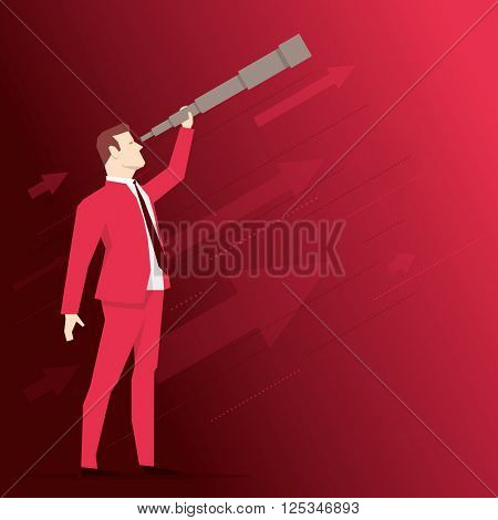 Businessman looks through a telescope on red background. Vector business concept illustration.