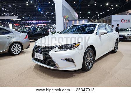 BANGKOK - MARCH 22: Lexus ES 300h car on display at The 37 th Thailand Bangkok International Motor Show on March 22 2016 in Bangkok Thailand.