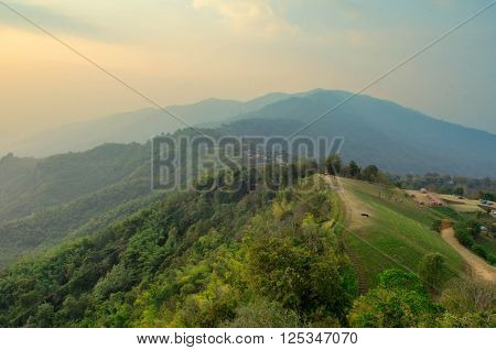 Landscape Fog And Cloud Sky On The Mountain With Sunset In Thailand