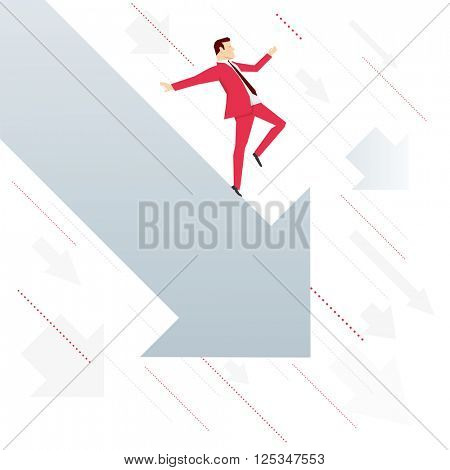 Red suit businessman falling down with arrow. Vector concept illustration.