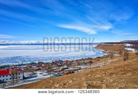KHANKH MONGOLIA - March 13 2016: Turt village ( Khankh ) sum center on shores of Lake Hovsgol . Mongolia