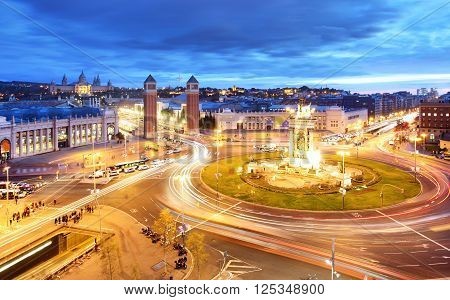 Barcelona - Espana square at a night Spain