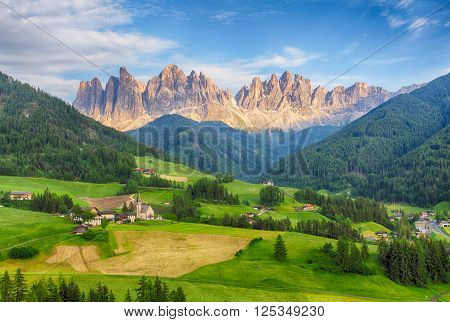 Italy dolomites - Val di Funes at a day