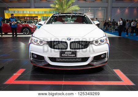 BANGKOK - MARCH 22: BMW 420d Coupe car on display at The 37 th Thailand Bangkok International Motor Show on March 22 2016 in Bangkok Thailand.