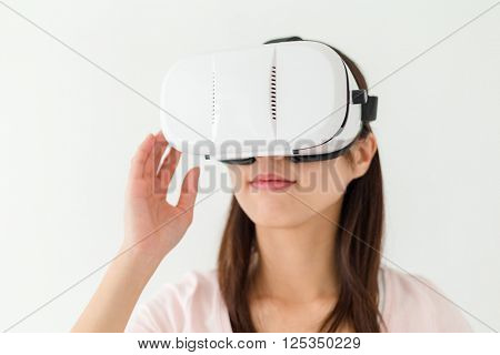 Woman experienc though vr device