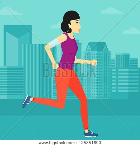 Woman jogging with earphones and smartphone.