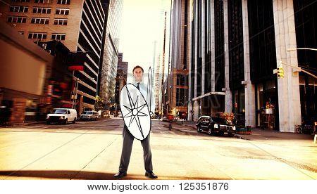 Corporate warrior against new york street