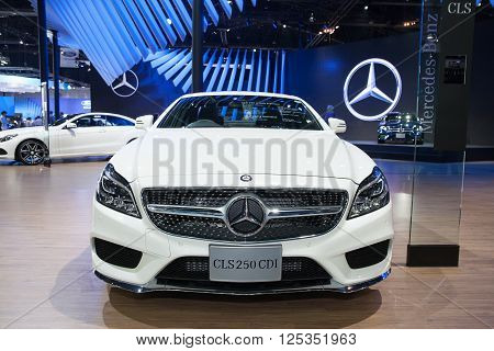 BANGKOK - MARCH 22: Mercedes Benz CLS 250 CDI car on display at The 37 th Thailand Bangkok International Motor Show on March 22 2016 in Bangkok Thailand.