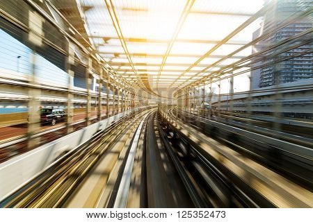 Motion blur of Japanese mono rail at day time