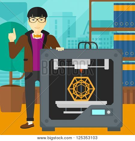 Man with three D printer.