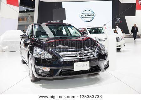 BANGKOK - MARCH 22: Nissan Teana car on display at The 37 th Thailand Bangkok International Motor Show on March 22 2016 in Bangkok Thailand.