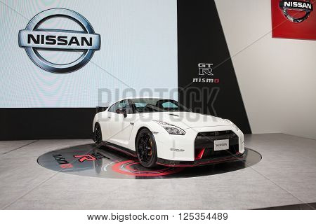 BANGKOK - MARCH 22: Nissan GTR car on display at The 37 th Thailand Bangkok International Motor Show on March 22 2016 in Bangkok Thailand.