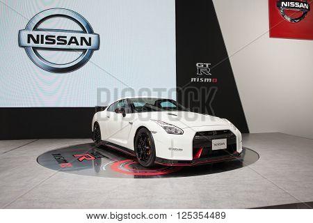 BANGKOK - MARCH 22: Nissan GTR car on display at The 37 th Thailand Bangkok International Motor Show on March 22 2016 in Bangkok Thailand.