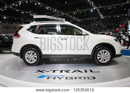 BANGKOK - MARCH 22: Isuzu X-Trail Hybrid car on display at The 37 th Thailand Bangkok International Motor Show on March 22 2016 in Bangkok Thailand.