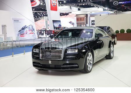 BANGKOK - MARCH 22: Roll Royce car on display at The 37 th Thailand Bangkok International Motor Show on March 22 2016 in Bangkok Thailand.