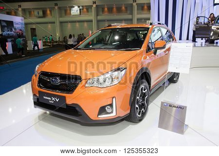 BANGKOK - MARCH 22: Subaru XV 2.0i-P car on display at The 37 th Thailand Bangkok International Motor Show on March 22 2016 in Bangkok Thailand.