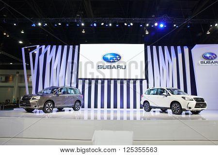 BANGKOK - MARCH 22: Subaru cars on display at The 37 th Thailand Bangkok International Motor Show on March 22 2016 in Bangkok Thailand.