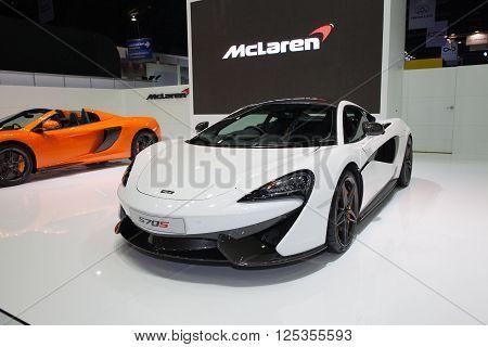 BANGKOK - MARCH 22: McLaren 570s car on display at The 37 th Thailand Bangkok International Motor Show on March 22 2016 in Bangkok Thailand.