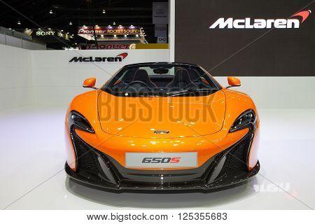 BANGKOK - MARCH 22: McLaren 650s car on display at The 37 th Thailand Bangkok International Motor Show on March 22 2016 in Bangkok Thailand.