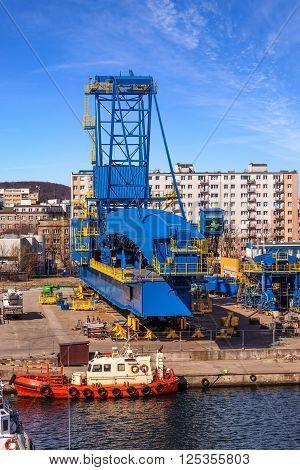 Big Gantry Crane in port of Gdynia Poland.