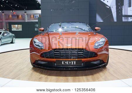BANGKOK - MARCH 22: Aston Martin DB11 car on display at The 37 th Thailand Bangkok International Motor Show on March 22 2016 in Bangkok Thailand.