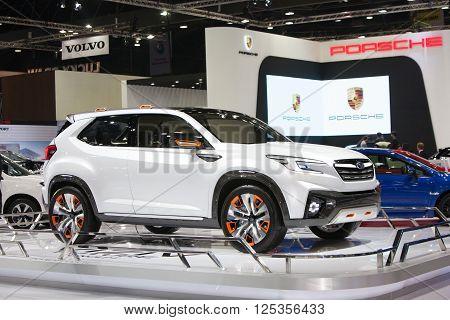 BANGKOK - MARCH 22: Subaru VIZIV Future concept car on display at The 37 th Thailand Bangkok International Motor Show on March 22 2016 in Bangkok Thailand.