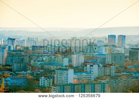 beautiful sundown landscape of russian sity Saratov Russia