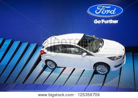 BANGKOK - MARCH 22: Ford New Focus car on display at The 37 th Thailand Bangkok International Motor Show on March 22 2016 in Bangkok Thailand.