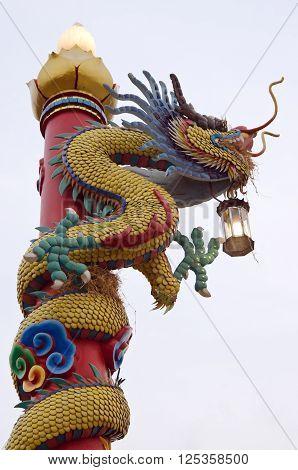 Dragon sculpture lamp post in Khon Kaen Thailand