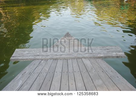 prow of Wooden boat on the river