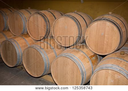 Wine Barrels In A Old Wine Cellar -wine Cellar