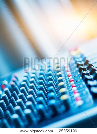 close-up view of professional sound mixer,still life.