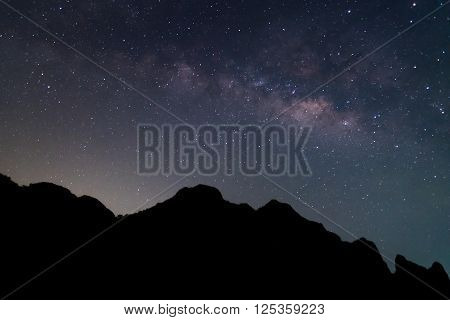 Milky way and silhouette of mountain at Khao Sam Roi Yot National Park Prachuap Khiri Khan Province Thailand; Beautiful Milky way in thailand