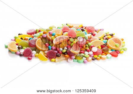Colorful candies, jelly and marmalade. Isolated on white background