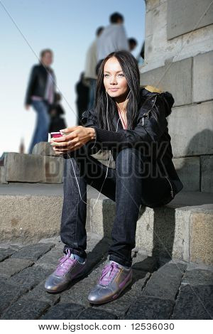 Beautiful woman in city