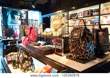 HONG KONG - MARCH 08, 2016: interior of Victoria's Secret store. Victoria's Secret is the largest American retailer of women's lingerie. The company sells lingerie, womenswear, and beauty products