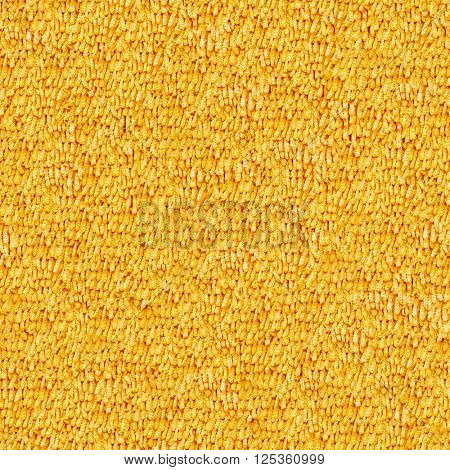 Seamless yellow carpet closeup texture background.