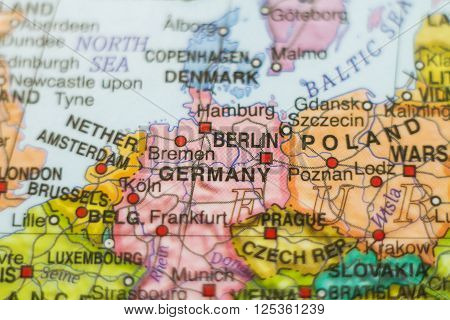 Beautiful photo of a map of Germany and the capital Berlin .